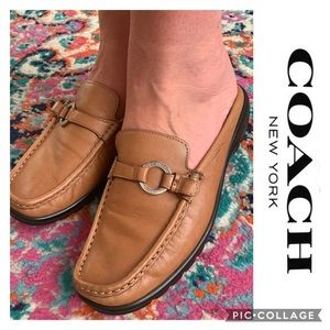 Coach Leather Leone Mules Flats loafers Tan 8